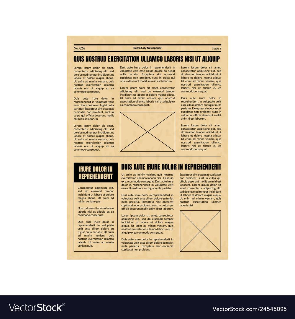 Vintage Newspaper Template Sheet Old Style Design