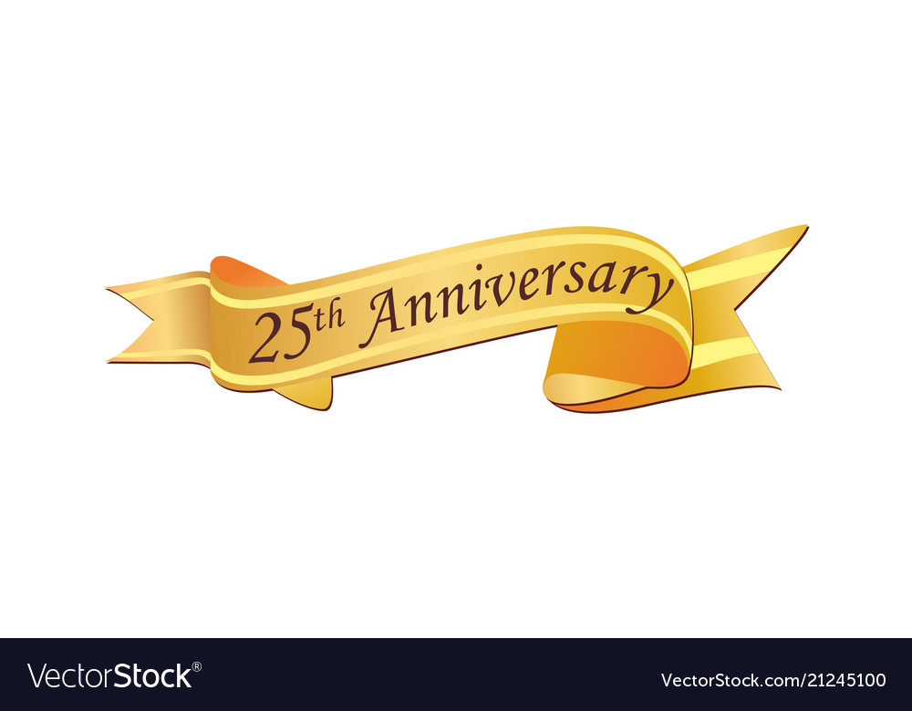 25th anniversary logo royalty free vector image rh vectorstock com 25th Pastoral Anniversary Silver 25th Anniversary Ribbons