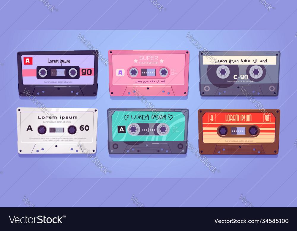 Audio cassettes retro tapes music media storage