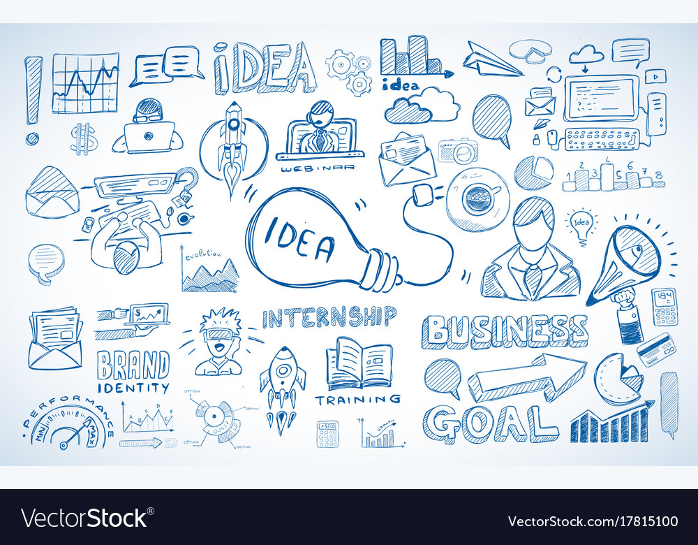 Business doodles sketch set infographics