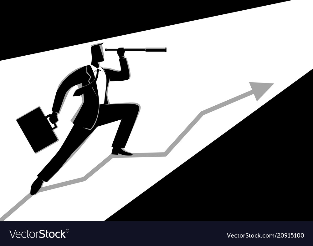 Businessman using telescope on graphic chart