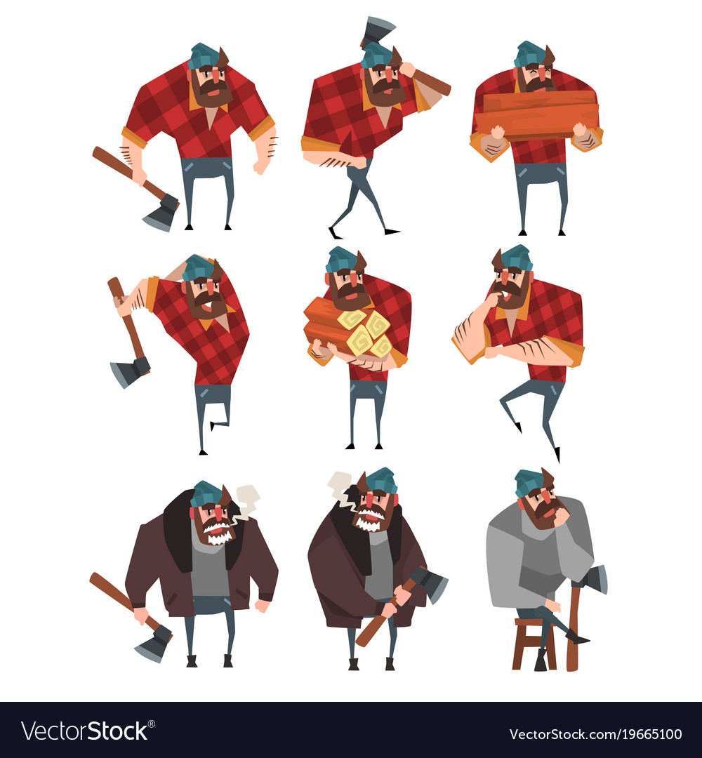 Cartoon set of lumberjack in different actions