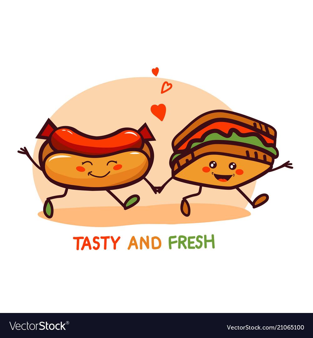 Cute cartoon fast food logo icon