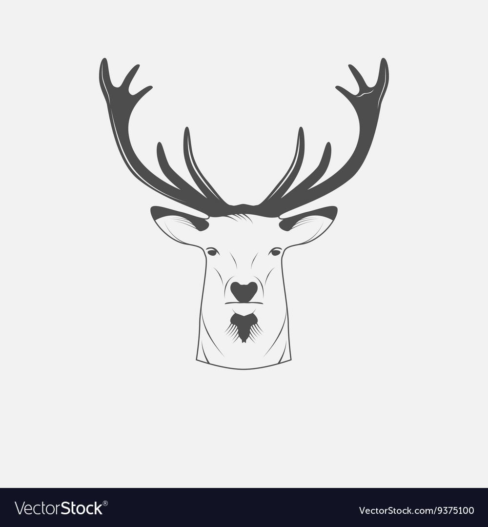 Deer head in black and white
