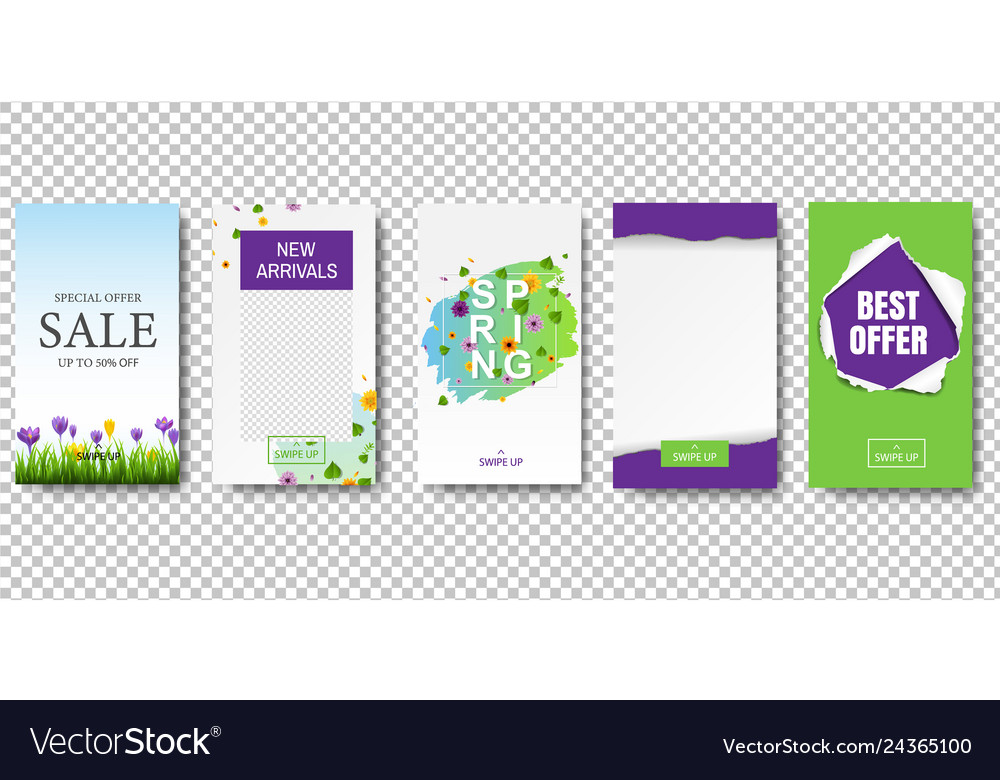 Editable stories template transparent background