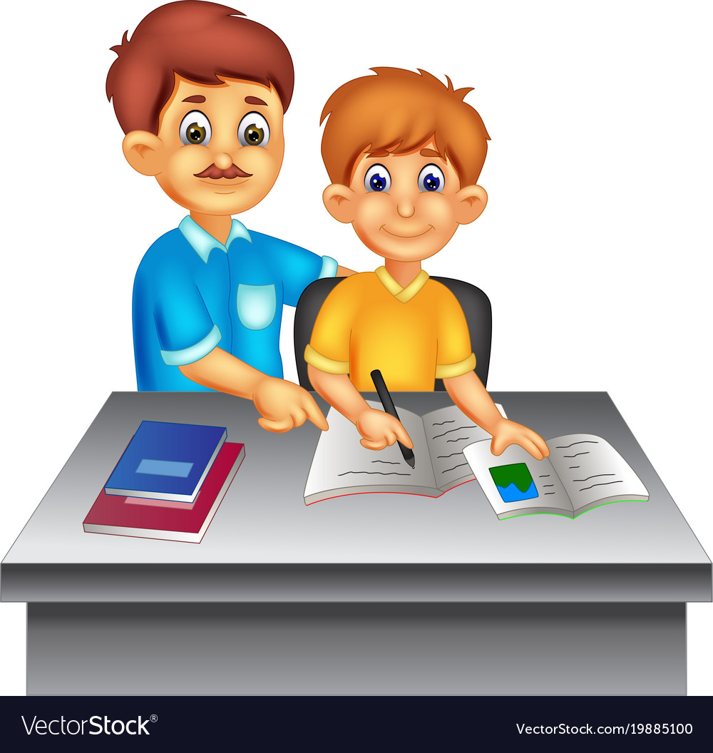 Handsome father cartoon learn with son