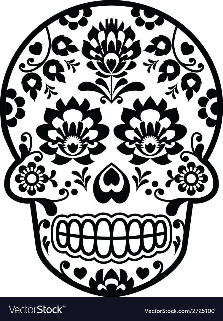 Mexican sugar skull - Polish folk art style