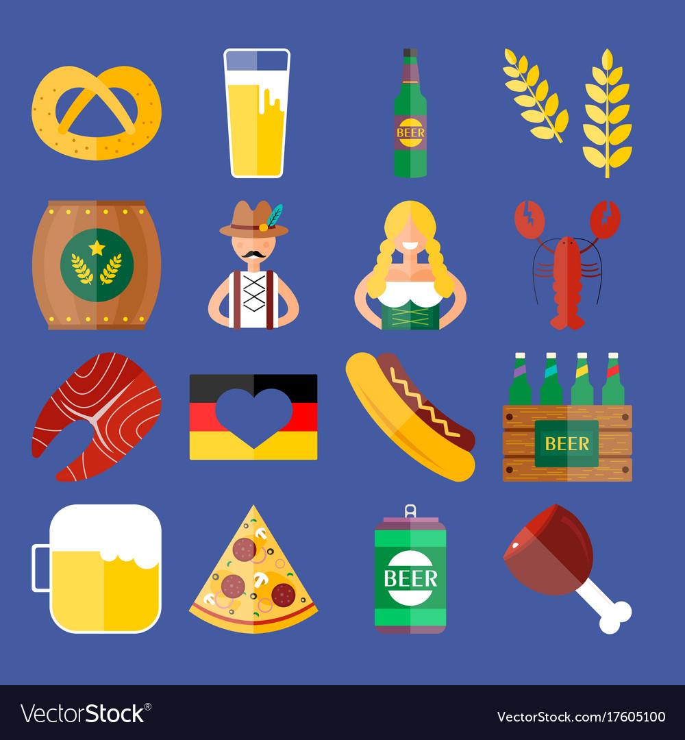 Set of flat oktoberfest icons bottle beer