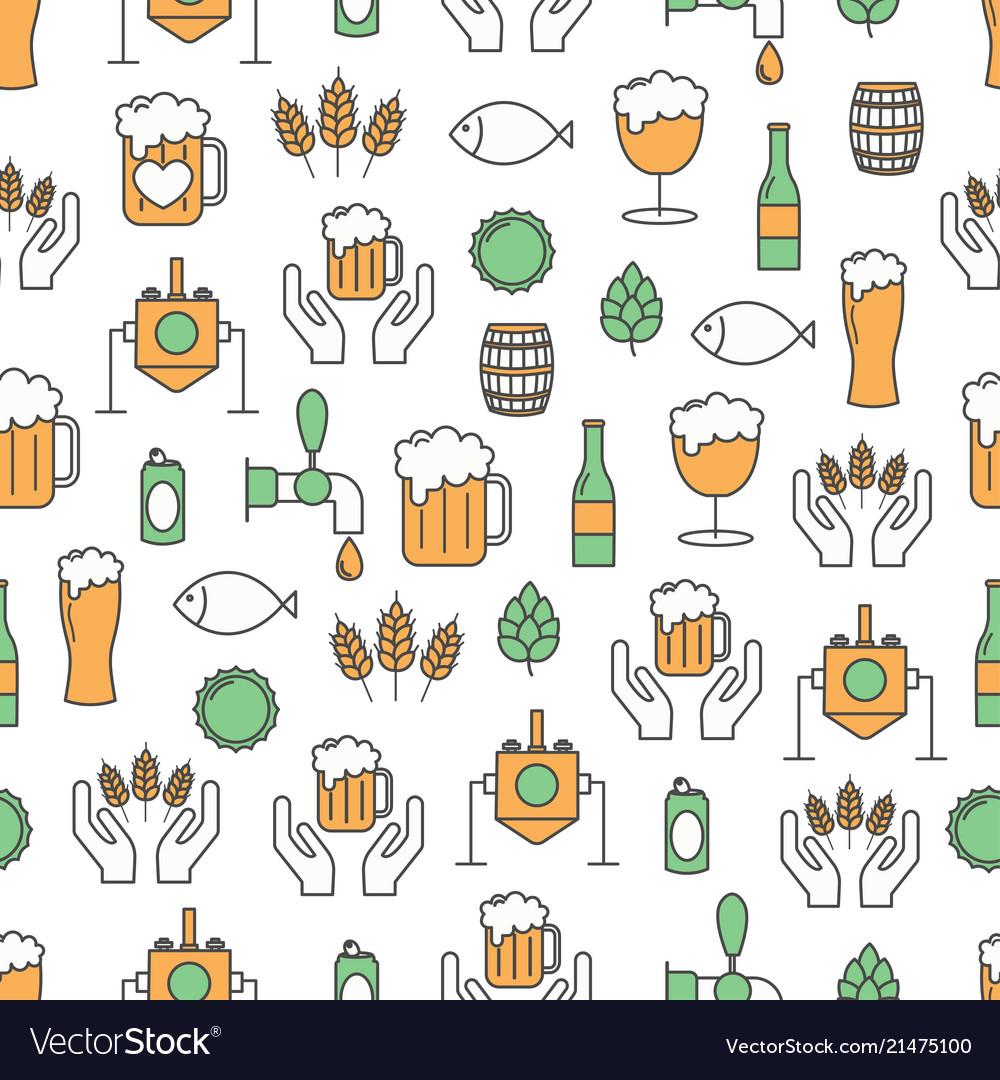 Thin line art craft beer seamless pattern