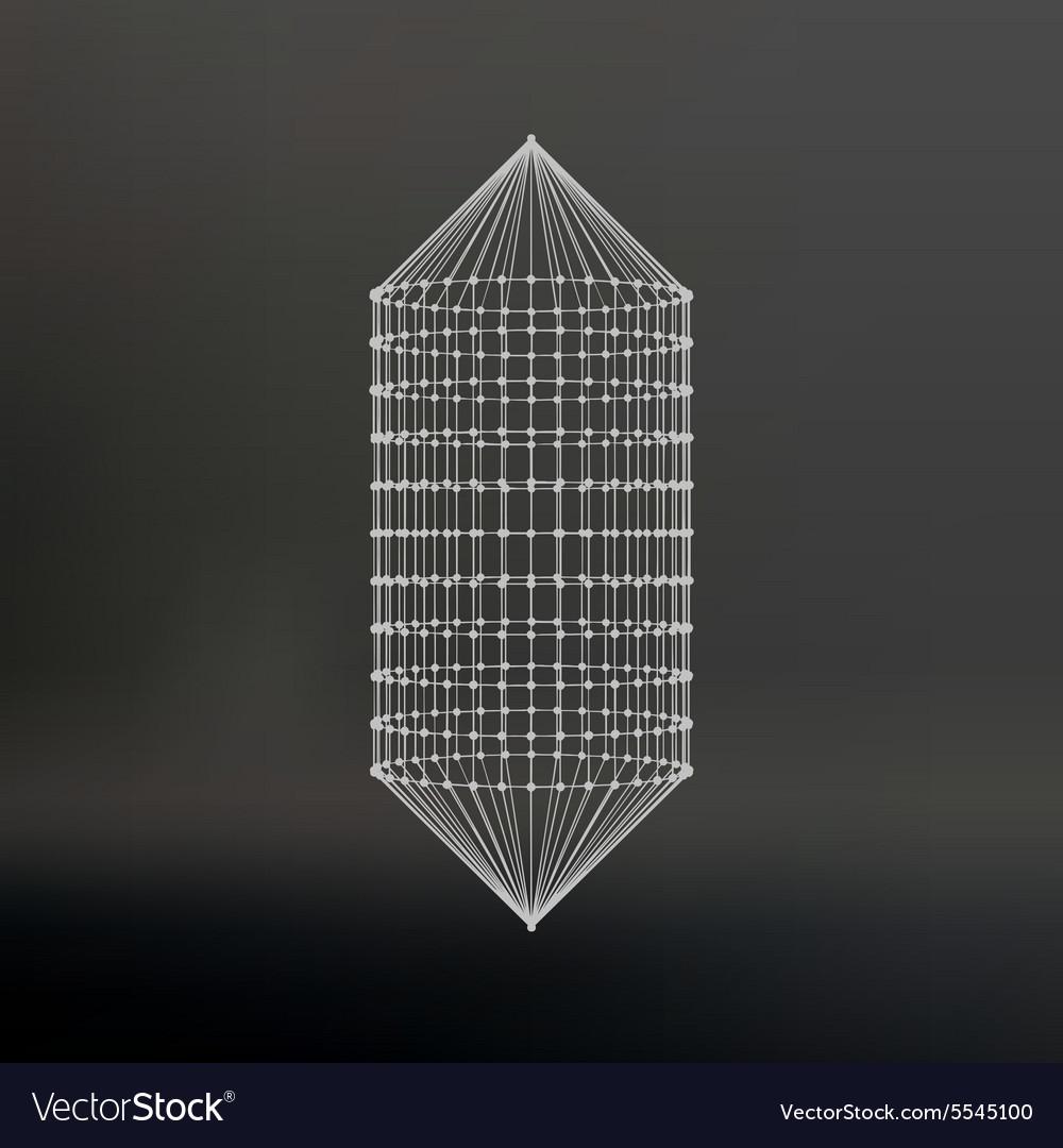 Wireframe mesh Polygonal capsule The capsule of