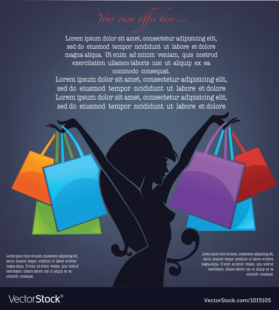 Background with girl silhouette and shopping bags vector