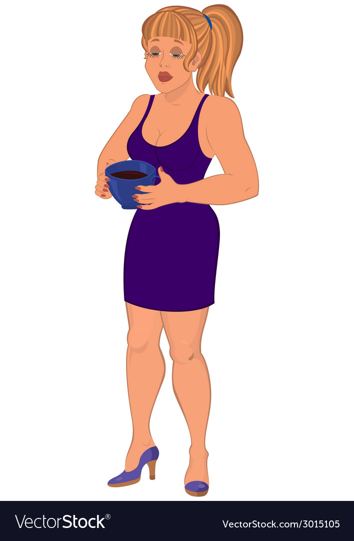 Cartoon woman in purple dress with cap of coffee vector image
