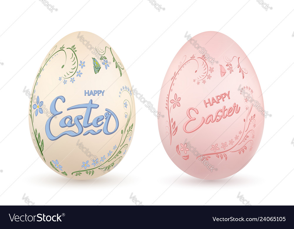 Easter egg 3d icon pastel eggs set lettering