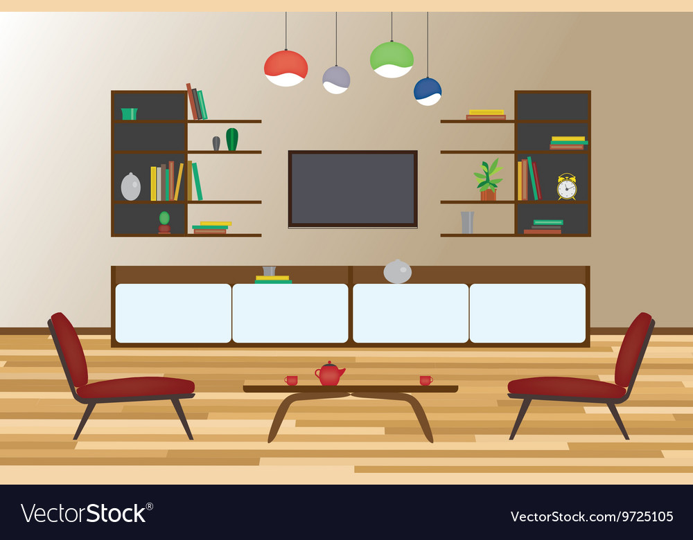 Home Interior flat design Living and