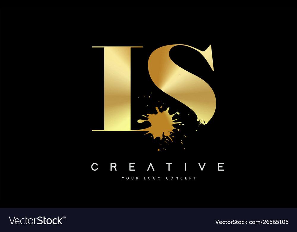 Ls L S Letter Logo With Gold Melted Metal Splash Vector Image