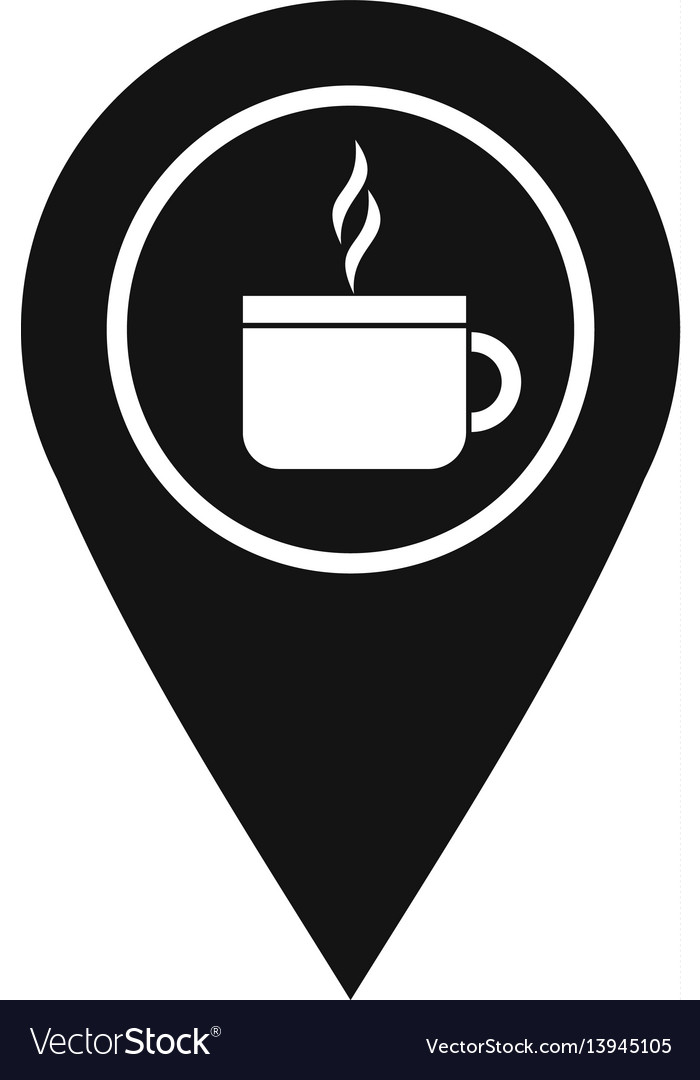 Map pin location with tea or coffee cup sign icon