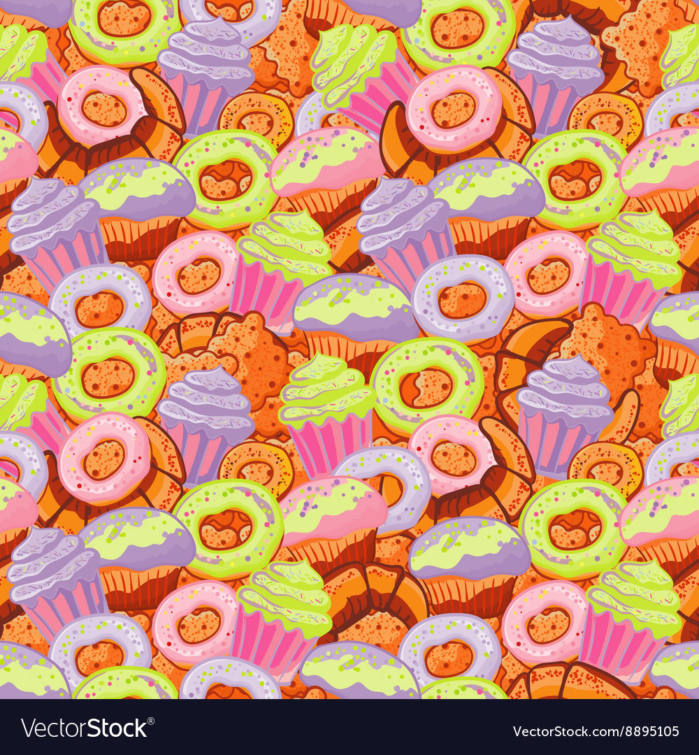 Pastry hand drawn seamless pattern Doodle