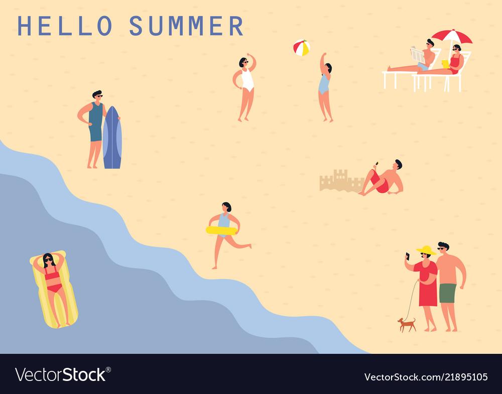People at sea or ocean beach swimming sunbathing