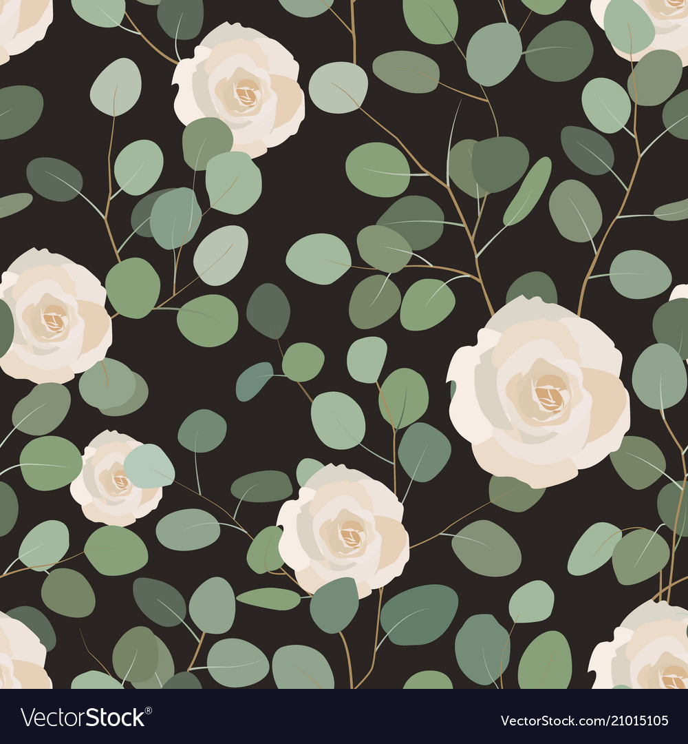 Seamless pattern with eucalyptus and roses