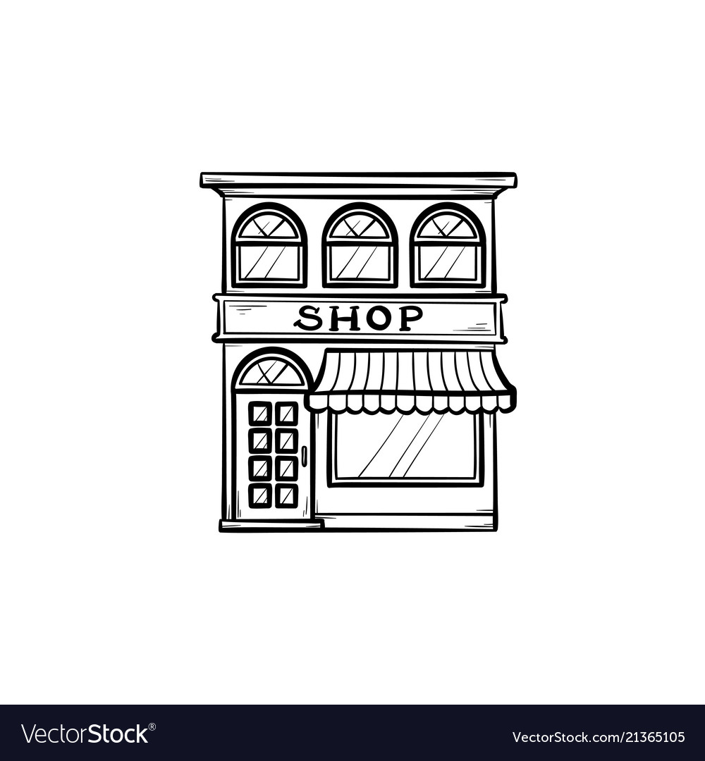 Shopping store hand drawn outline doodle icon