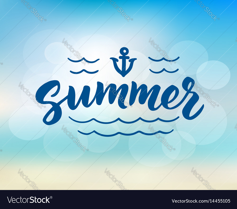 Summer hand drawn brush lettering vector image