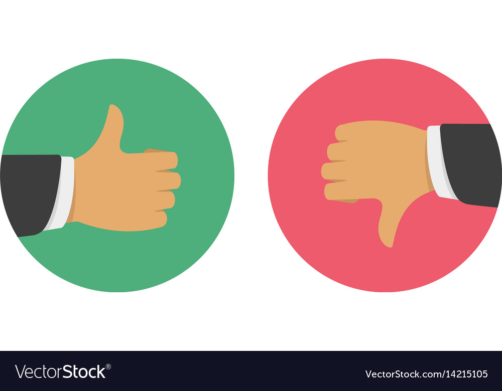 thumbs up thumbs down royalty free vector image
