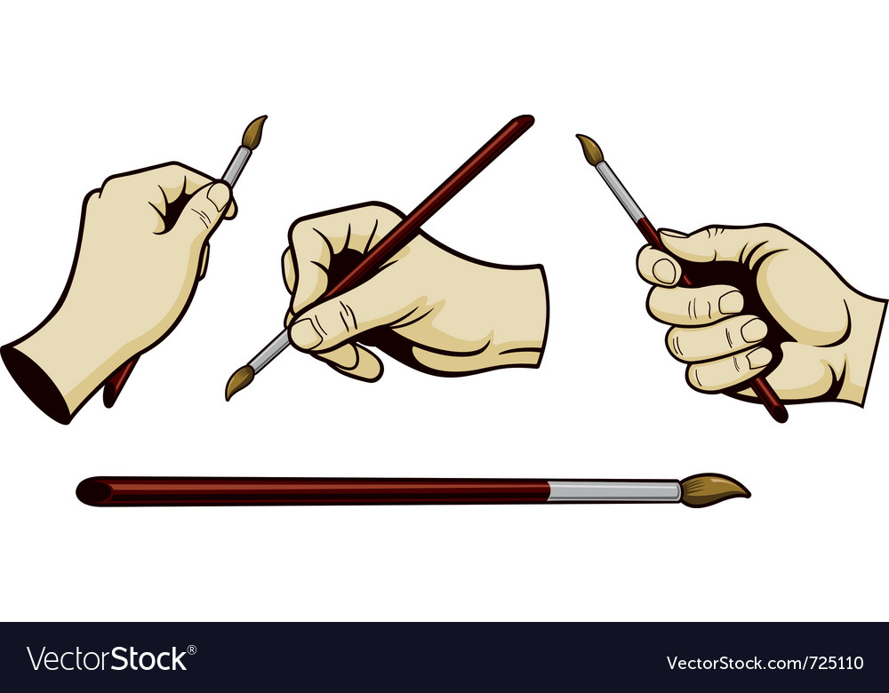 Artist hands with paint brush vector image