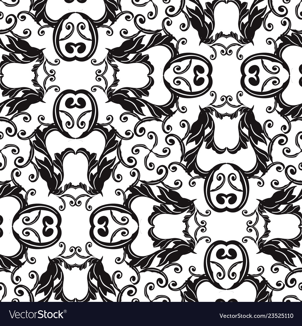 Baroque black and white seamless pattern