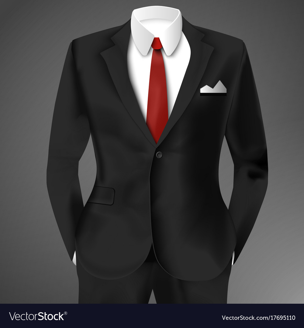 Classic Male Black Suit Royalty Free Vector Image