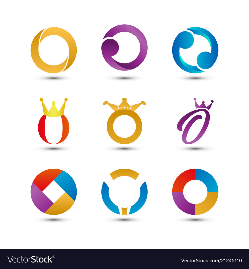 Collection of abstract colorful letter o logo