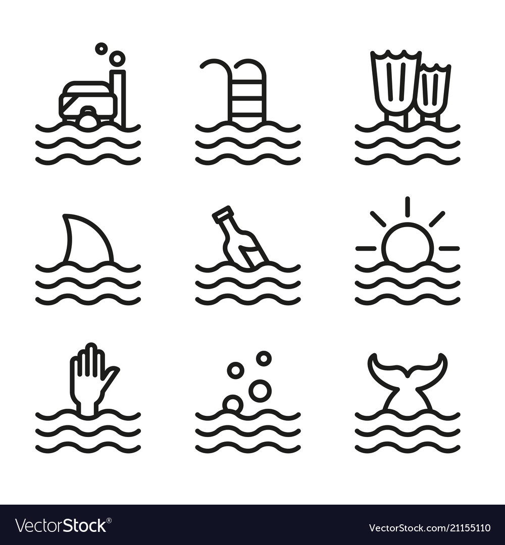 Collection Of Waves Icons Symbols Royalty Free Vector Image