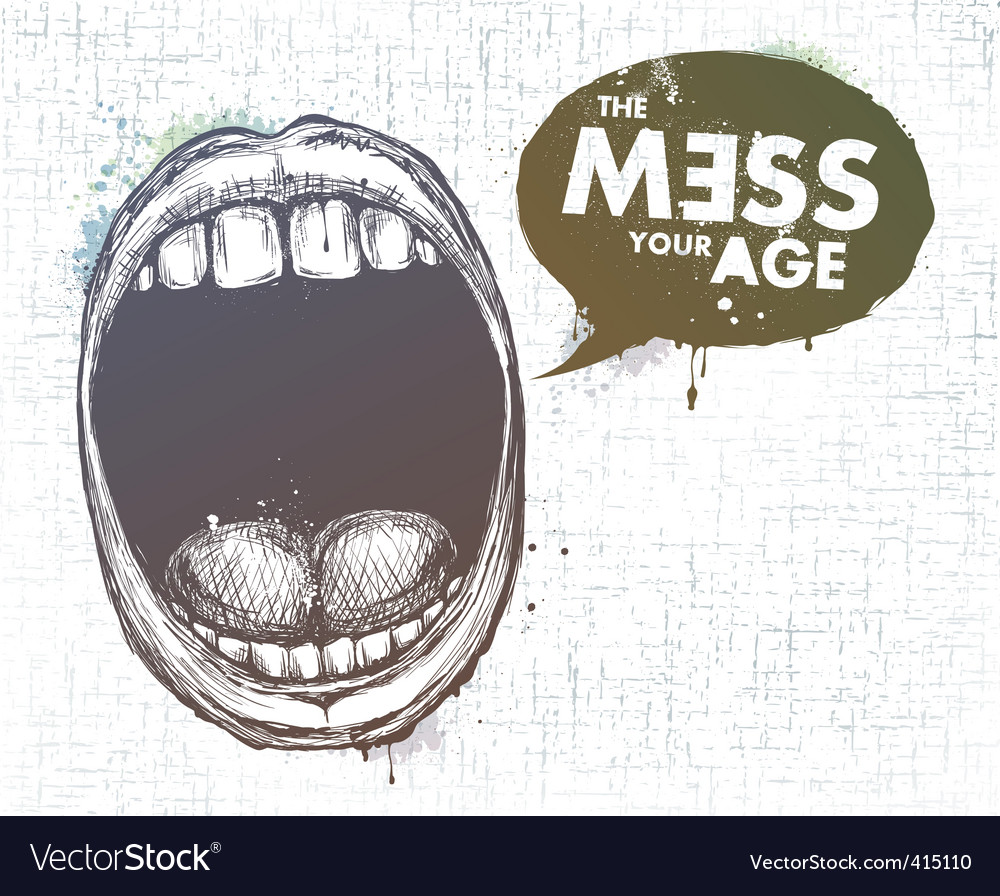 Modern sketchy style lips vector image