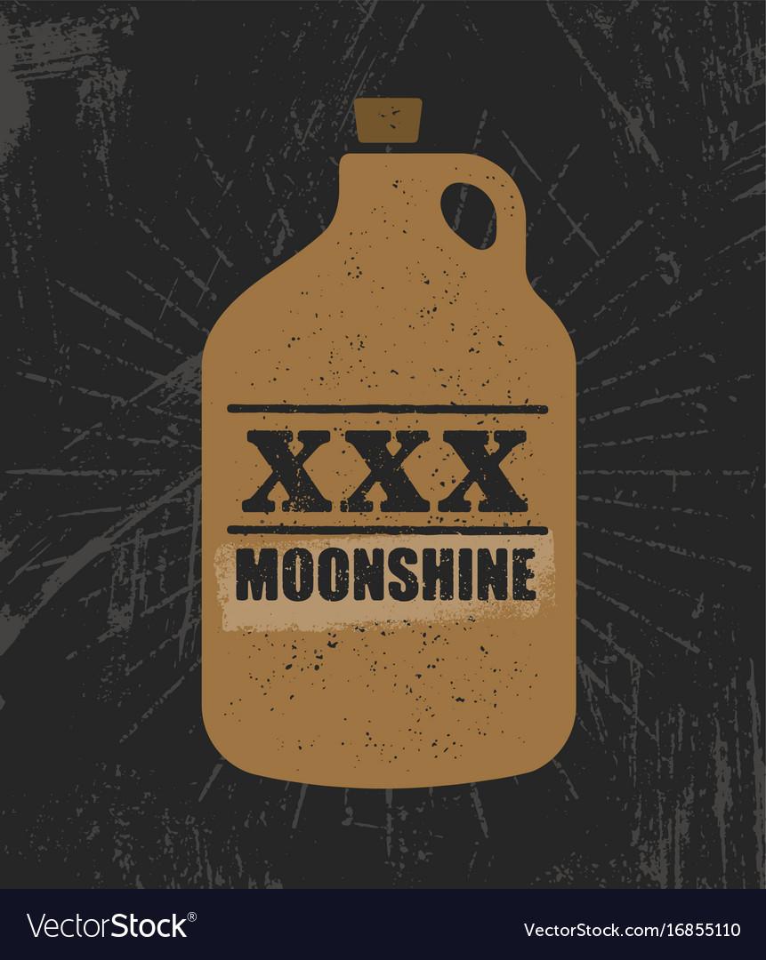 Moonshine jug pure original corn spirit creative vector image
