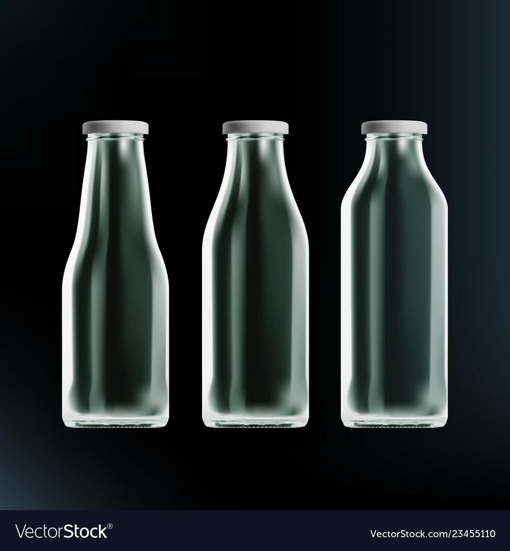 Realistic transparent clear empty milk bottles