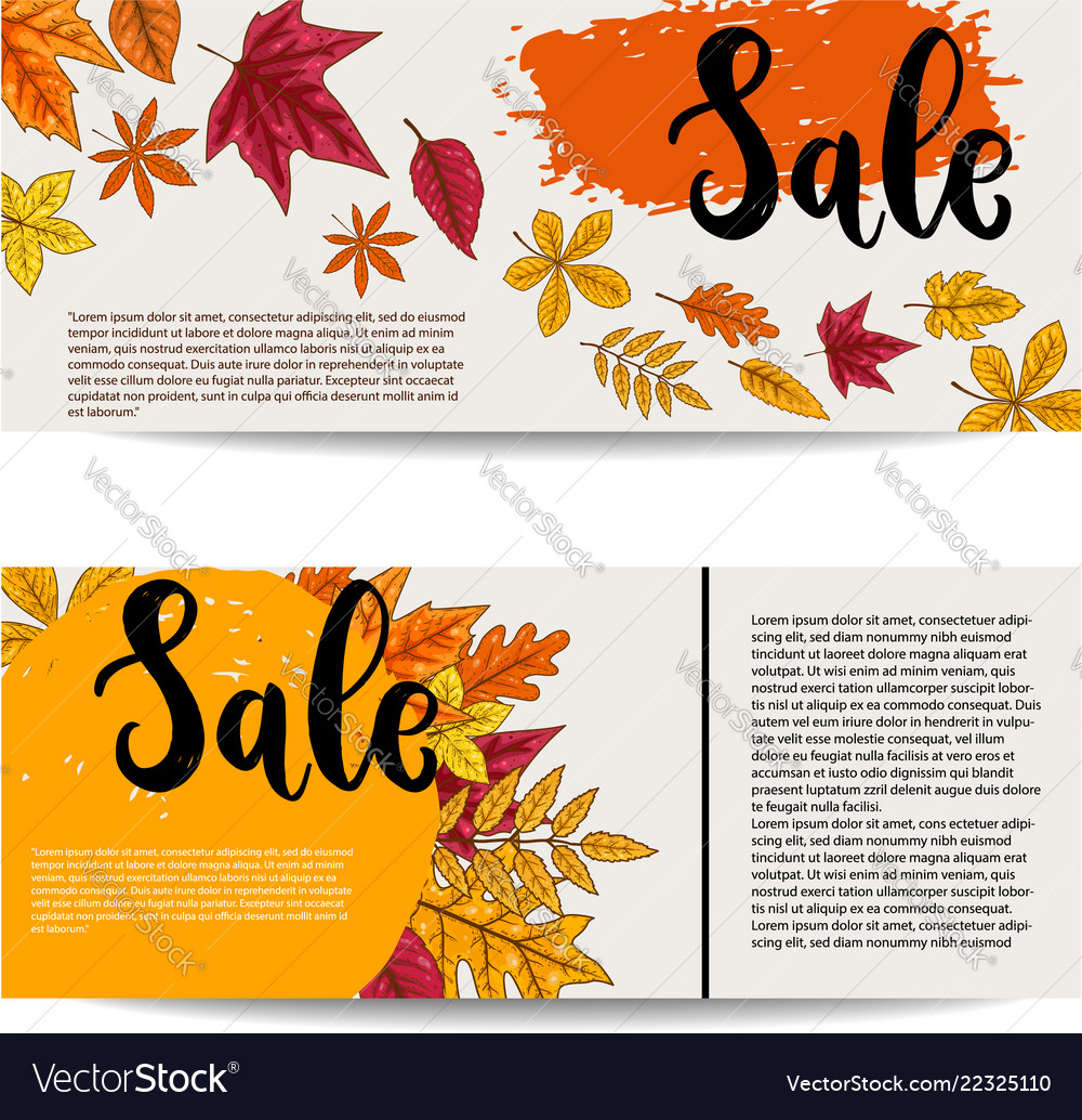 Sale set of banner templates with autumn leaves