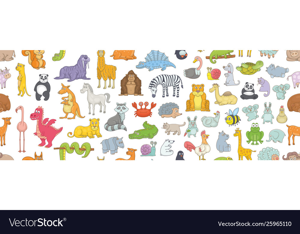 Seamless pattern with different animals