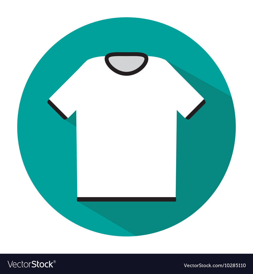 Simple white tshirt icon with long shadow