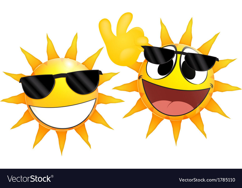 Smiling sun Emoticon holding a glasses vector image