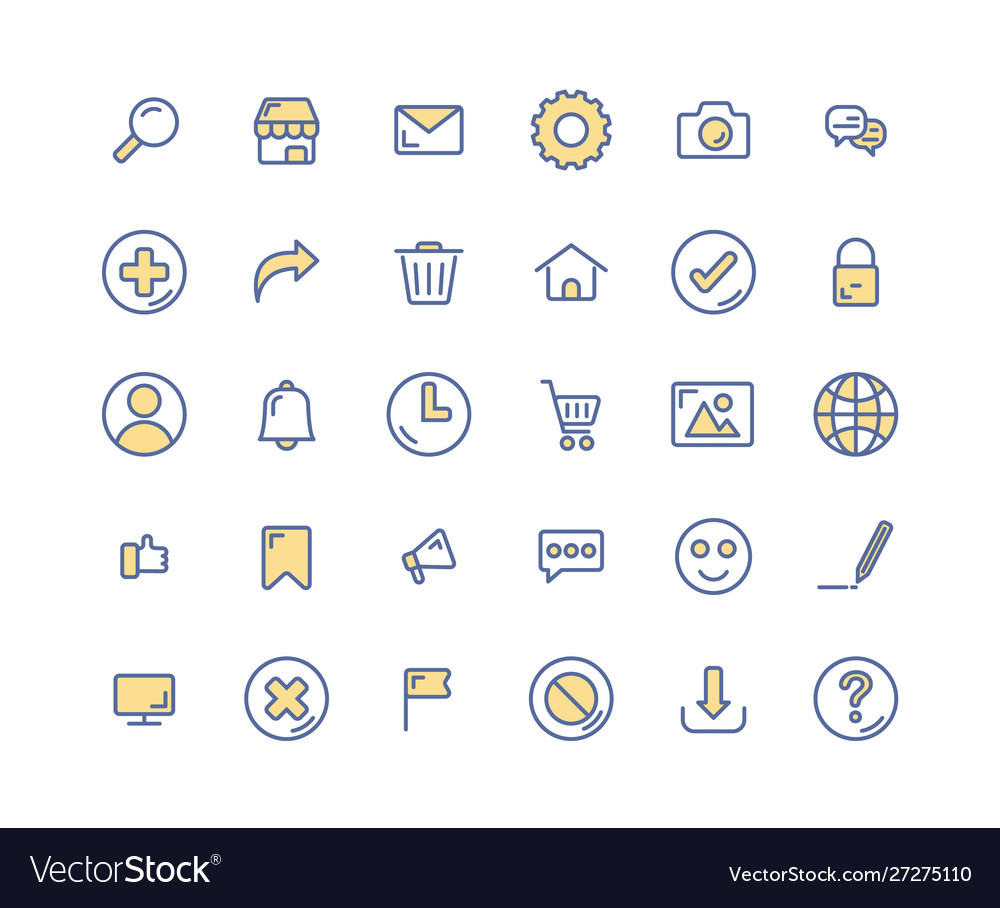 Web interface filled outline icon set