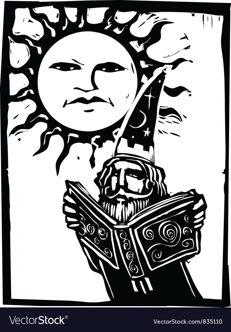 Wizard beneath a sun face vector image