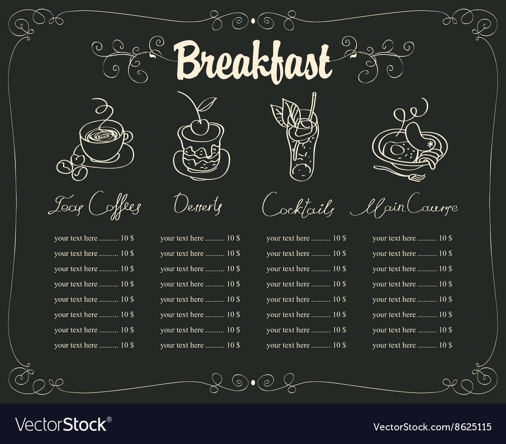 Board with a breakfast menu vector image