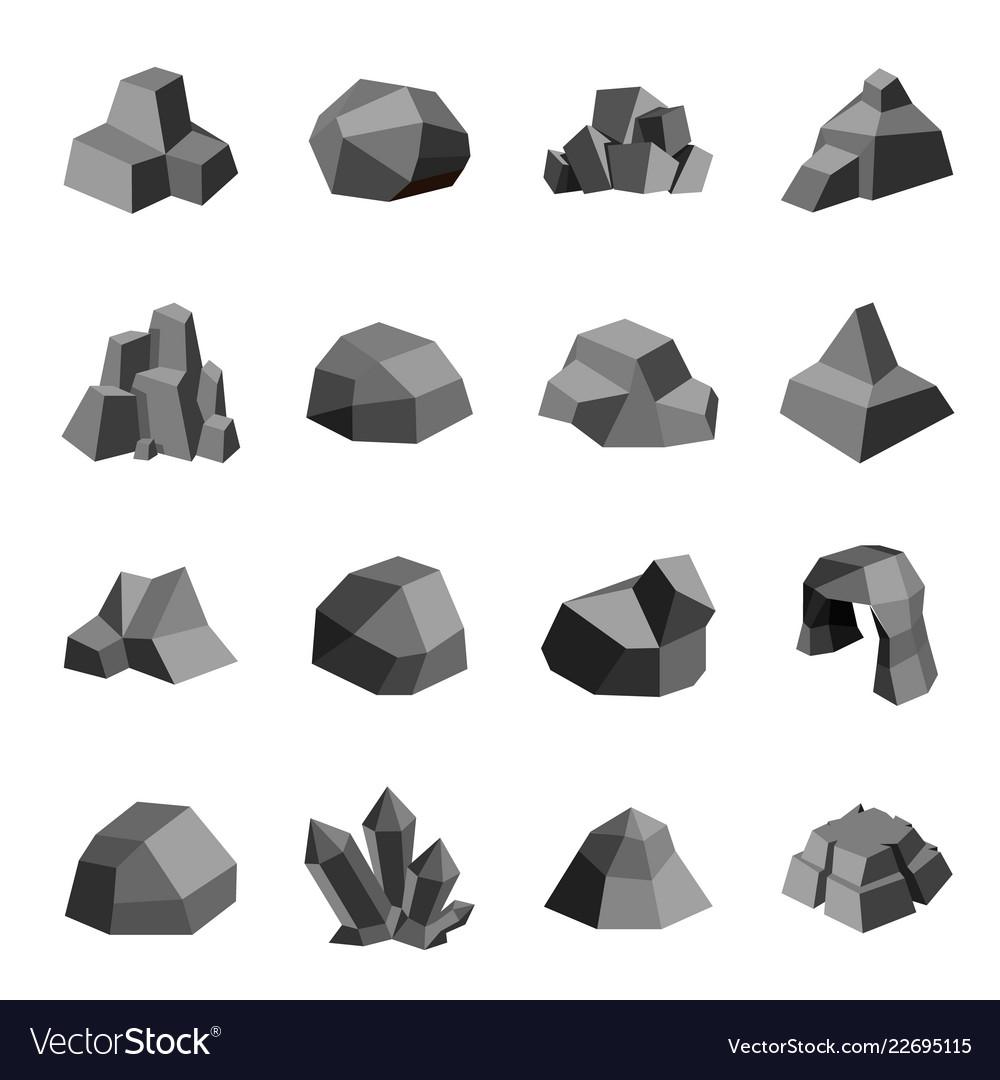 Coal stones rock boulder crystal polygonal design