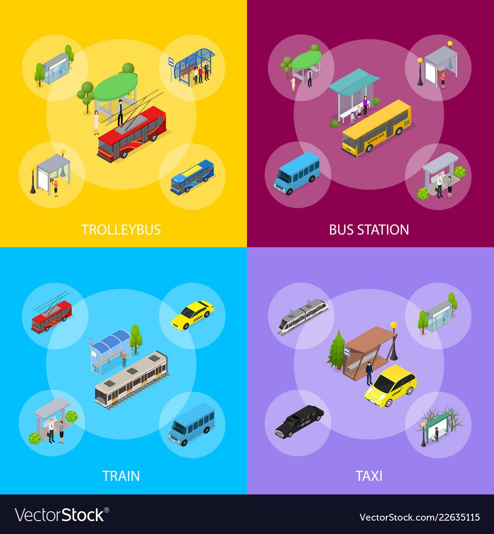 Different types city public transport 3d banner