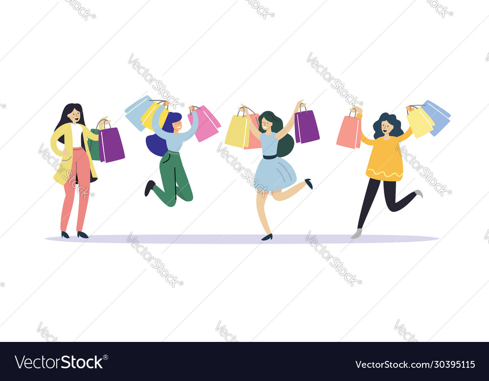 Happy girls rejoice at new purchases in store vector