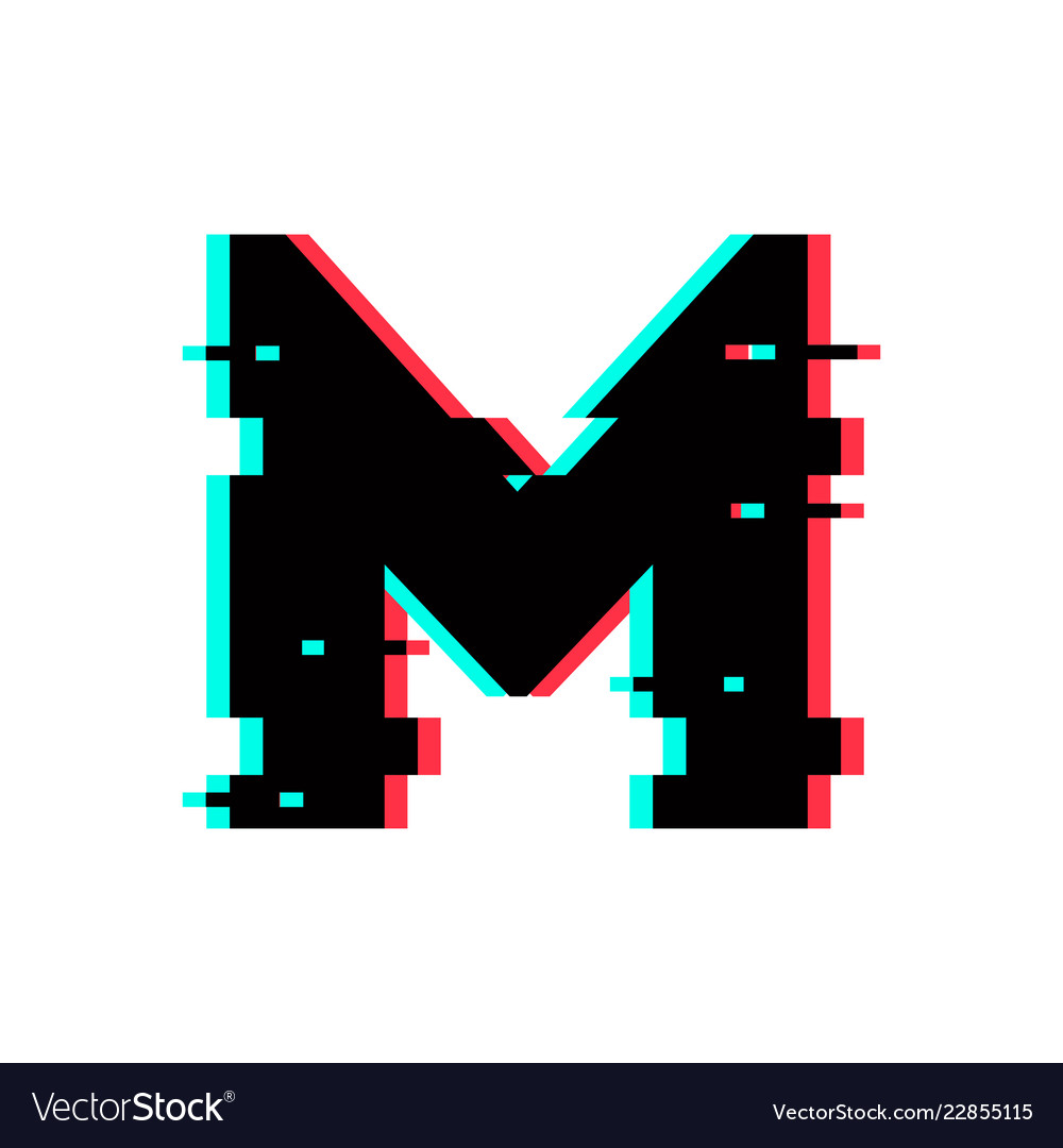 Logo Letter M Glitch Distortion Royalty Free Vector Image