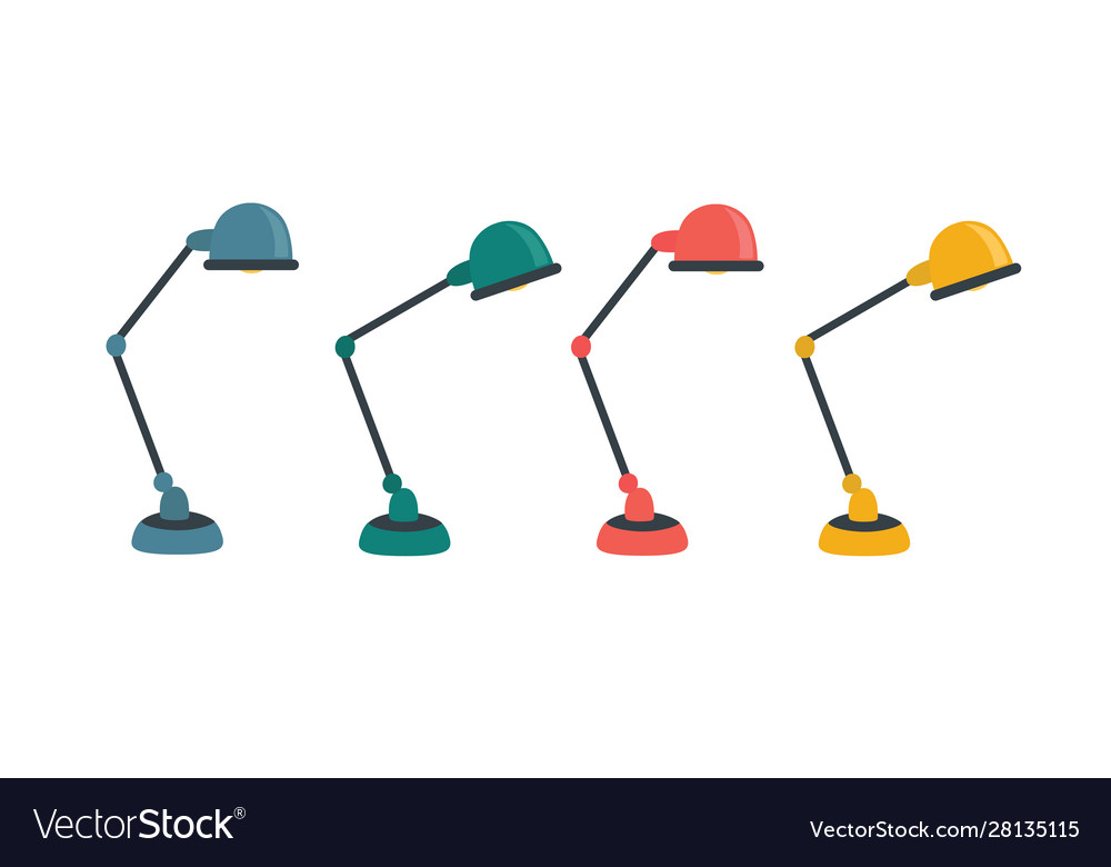 Office table lamp icon flat of