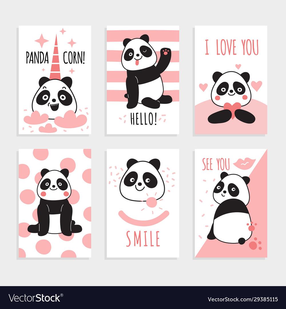 Panda cards cute chinese bears happy panda