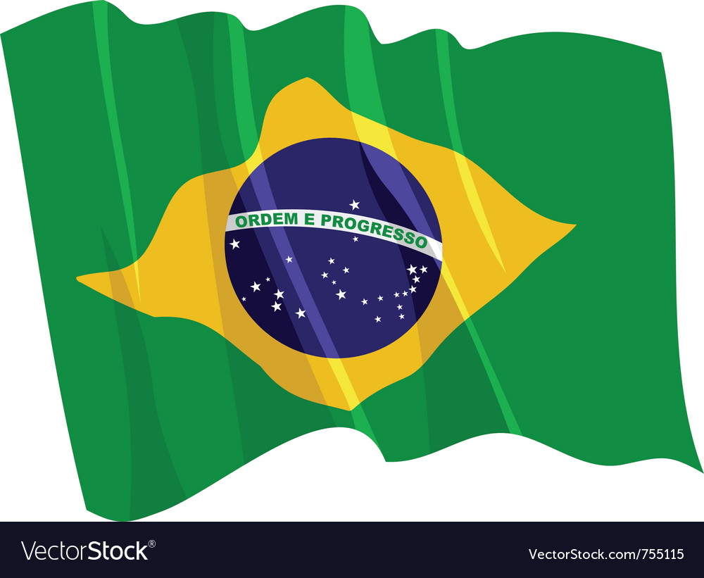 Political waving flag of brazil vector image