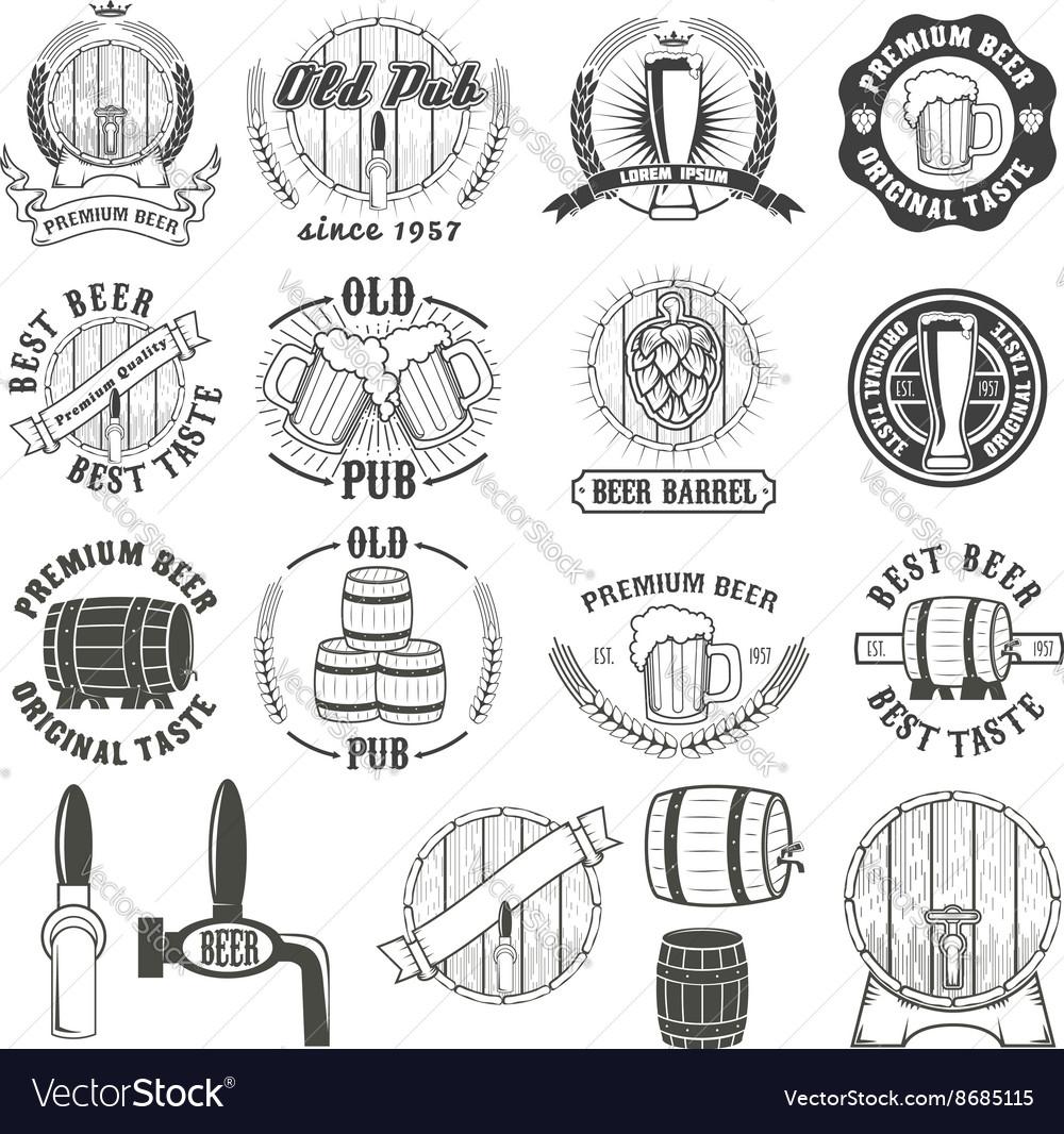 Set of beer labels badges and design elements