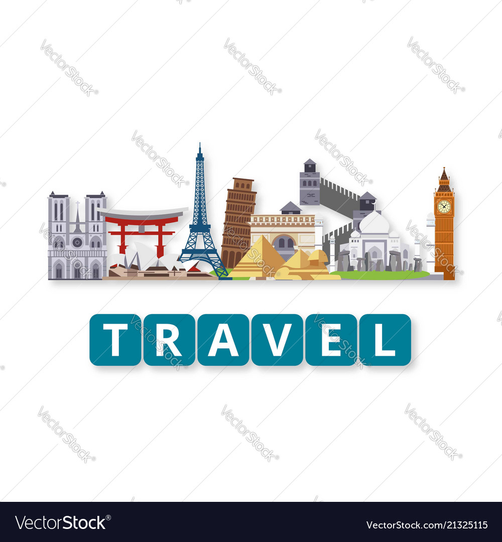 Travel world landmarks set with lettering